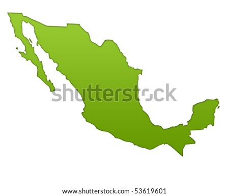 Mexico map in gradient green, isolated on white background. - stock photo