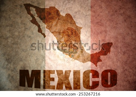 mexico map on a vintage mexican flag background - stock photo