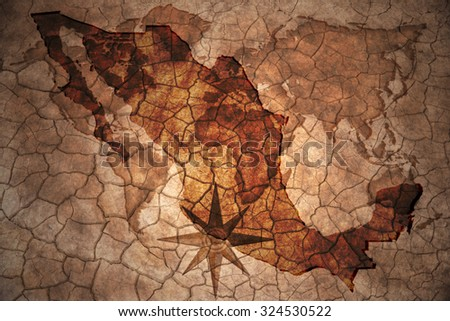 mexico map on vintage crack paper background - stock photo