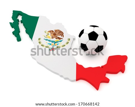 Mexico Map with soccer Ball - stock photo