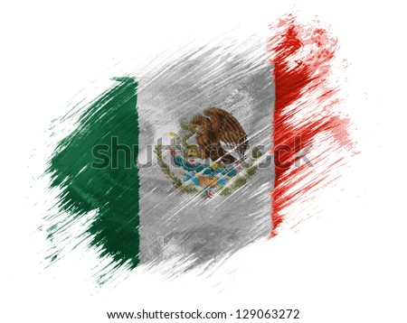 Mexico. Mexican flag painted with brush on white background - stock photo