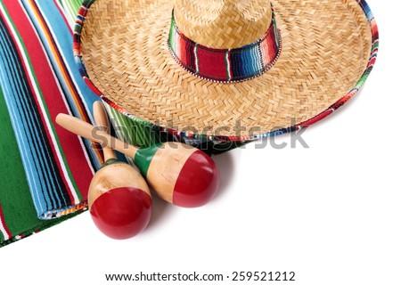 Mexico, Mexican sombrero, maracas isolated - stock photo