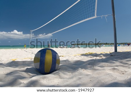mexico on beach net and ball - stock photo