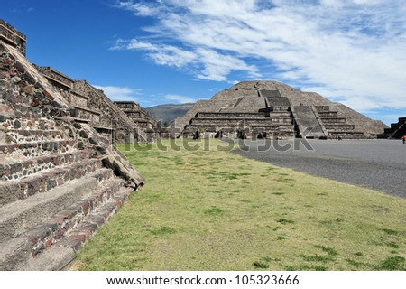 Mexico pyramids. The pyramid of the moon in Teotihuacan, Mexico. - stock photo