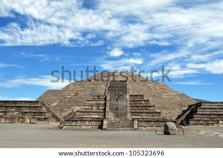 Mexico pyramids. The pyramid of the moon in Teotihuacan, Mexico.  , - stock photo