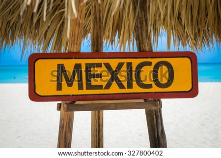 Mexico sign with beach background - stock photo