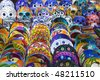 Mexico.  Souvenir bench.  Plate and mask. - stock photo