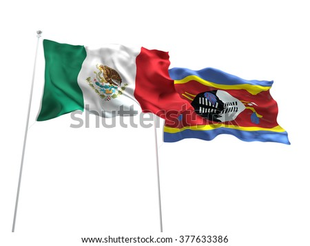 Mexico & Swaziland Flags are waving on the isolated white background