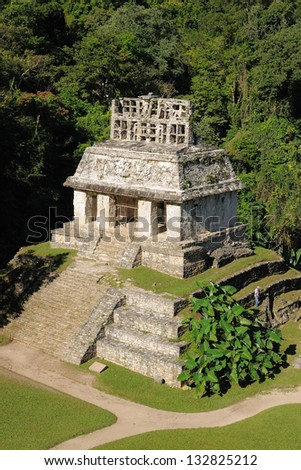 Mexico, The ancient city of Palenque sits like a king on a throne of jungle where plains meet mountains. The picture presents Templo del Sol - stock photo