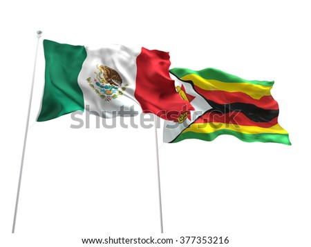 Mexico & Zimbabwe Flags are waving on the isolated white background