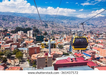 Mi Teleferico is an aerial cable car urban transit system in the city of La Paz, Bolivia. - stock photo