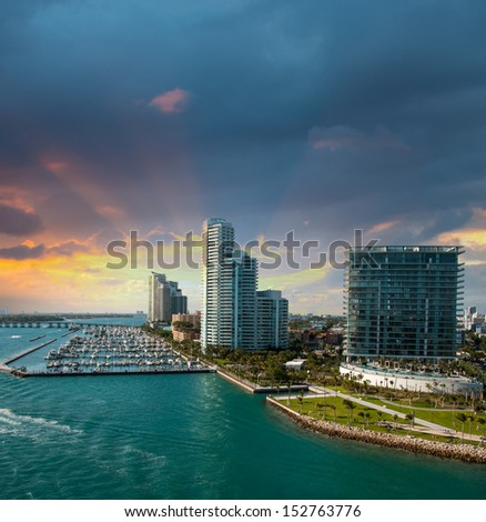 Miami at sunset. City skyline. - stock photo