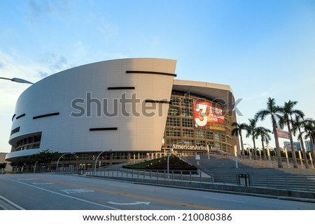 MIAMI - August 9 : American Airlines Arena in Miami as seen on August 9, 2014. It is home to National Basketball Association team - the Miami Heat. The arena has a maximum capacity of 19,600.