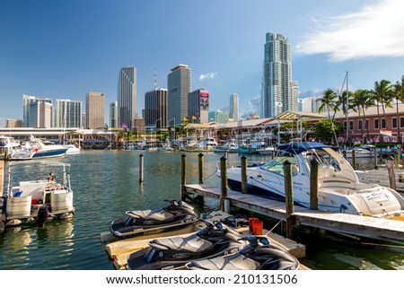 MIAMI - August 8 : View of Miami Marina and Bayside Marketplace in August 8, 2014.  The marina was completely rebuilt and reopened in 1997