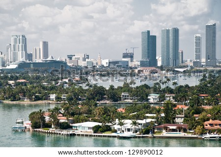 Miami bay, view from above from an apartment in a skyscraper. - stock photo