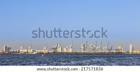 miami bayfront cityscape with view to harbor from Key Biscane - stock photo