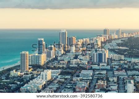 Miami Beach aerial view, Florida. - stock photo