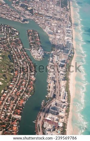 Miami Beach aerial view. Indian Creek waterway and Allison Island. - stock photo