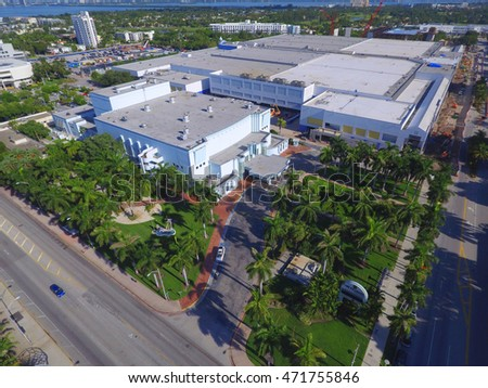 MIAMI BEACH - AUGUST 20: Aerial drone photo of The Fillmore Miami Beach at the Jackie Gleason Theater August 20, 2016 in Miami Beach FL, USA