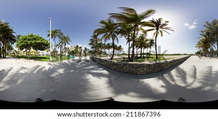 MIAMI BEACH - AUGUST 18: Spherical 360x180 panoramic image of Ocean Drive pedestrian path Miami Beach for virtual tours August 18, 2014.  - stock photo