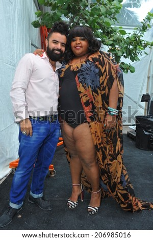 MIAMI BEACH, FL - JULY 21: Designer A.Z Araujo (L)  and Brazilian actress Priscilla Marinho backstage at the A.Z Araujo show during Mercedes-Benz Fashion Week Swim 2015 on July 21, 2014 in Miami, FL.