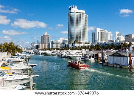 Miami Beach, Fl USA - February 13, 2016: The popular Miami International Boat Show features more than 3,000 boats and 2,000 exhibitors from all over the world. - stock photo