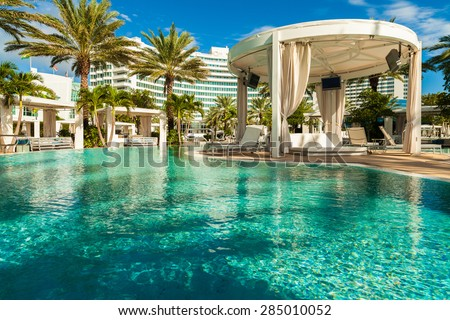Miami Beach, FL USA - October 3, 2012: The beautiful pool area of the historic art deco Fontainebleau Hotel on Miami Beach.