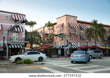 Miami Beach, Florida - December 28, 2015: View of South Miami Beach during the winter holiday.