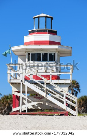 Miami Beach Florida, famous lifeguard house in a typical colorful Art Deco style - stock photo