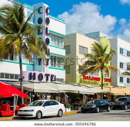 MIAMI BEACH, FLORIDA, 4. May, 2012 - View of the famous Art Deco hotels at Ocean Drive in South Beach, Miami Beach - stock photo