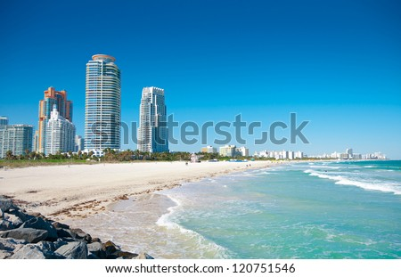 Miami Beach in Florida with luxury apartments and waterway - stock photo