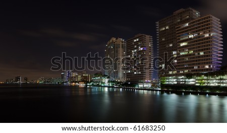 Miami Beach Inter Coastal Waterway Skyline view from the MacArthur Causeway. - stock photo