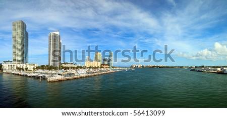 Miami Beach Intracoastal Panorama - stock photo