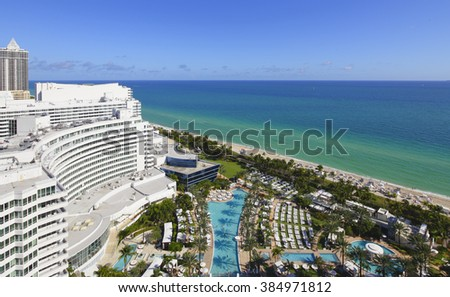 MIAMI BEACH - JANUARY 15: Aerial photo of the Fontainebleau Hotel located at 4441 Collins Avenue originally opened in 1954 January 15, 2016 in Miami Beach FL, USA - stock photo