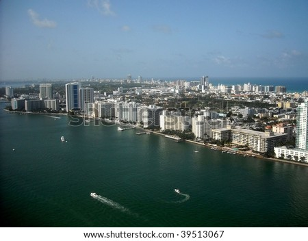 Miami Beach looking north - stock photo
