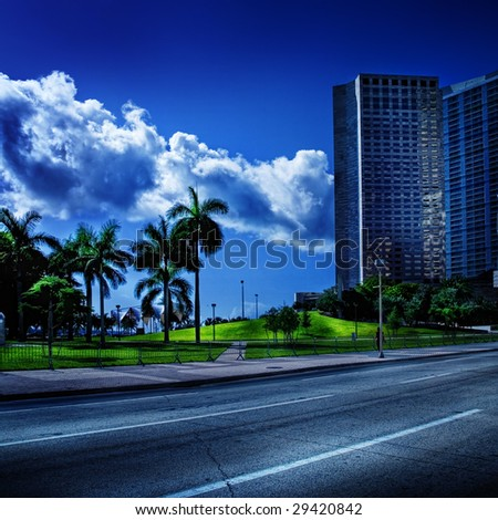 Miami Beach Road in South Florida - stock photo