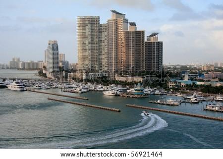 Miami city and bay front, Florida, USA. - stock photo