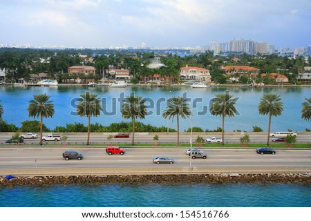 miami city scape in day time ,forida USA - stock photo