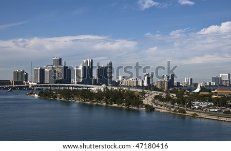 Miami City Skyline including the MacArthur Causeway from Cruise Ship - stock photo