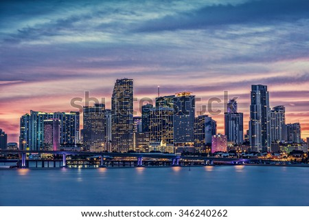 Miami City Skyline viewed from Biscayne Bay