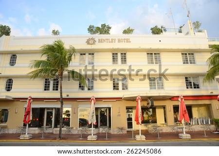 MIAMI - DEC 24: Art Deco Style Building Bentley Hotel in Miami Beach in the morning on December 24th, 2012 in Miami, Florida, USA. - stock photo