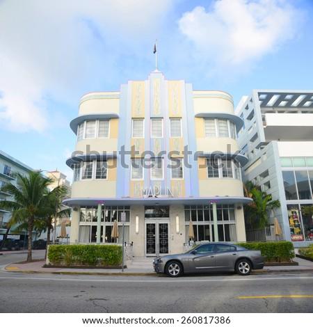 MIAMI - DEC 25: Marlin Hotel with Art Deco Style Building in Miami Beach on December 25th, 2012 in Miami, Florida, USA. - stock photo