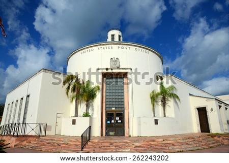 MIAMI - DEC 24: Miami Beach Post Office at 1300 Washington Avenue is Art Deco style building in Miami Beach on December 25th, 2012 in Miami Florida, USA - stock photo