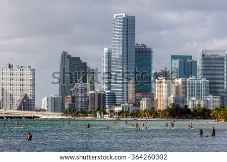 MIAMI - DECEMBER 30, 2015: Hobie Beach is Miami's most popular beach for windsurfers and dog lovers, located in a narrow strip along the Rickenbacker Causeway in Key Biscayne.