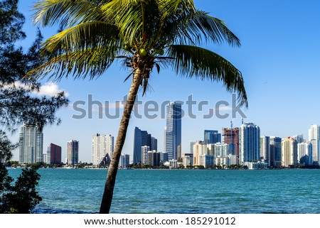 Miami Downtown skyline in daytime with Biscayne Bay. - stock photo