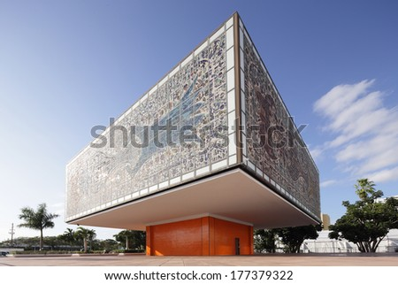 MIAMI - FEBRUARY 15, 2014: Photo of the National Young Arts Foundation Building in Miami which used to be the headquarters of Bacardi USA.  - stock photo