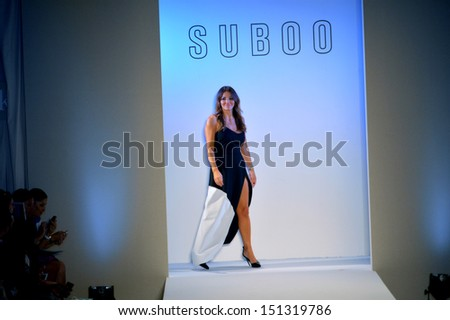 MIAMI, FL - JULY 19: Designer Sue Di Chio walks the runway at the Suboo show during Mercedes-Benz Fashion Week Swim 2014 at Oasis at the Raleigh on July 19, 2013 in Miami, Florida. - stock photo