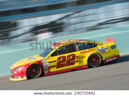 MIAMI, FL - Nov 15: Joey Logano at the Nascar Sprint Cup Ford Ecoboost 400 practice at Miami Speedway in Homestead,FL on November15, 2014