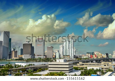 Miami, Florida. Awesome skyline view from city port. - stock photo