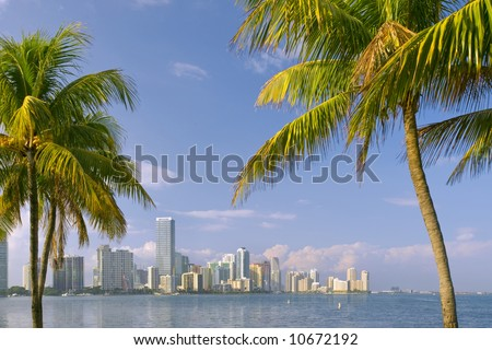 miami florida bayfront skyline on sunny afternoon